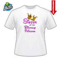 Sister of the Birthday Princess with Crown Printable Digital Iron On Transfer Clip Art DIY Tshirts Instant Download