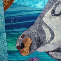Under the Sea OOAK - Quilted Wall Hanging - 12.5 x 54.5 Inches