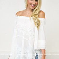 Lace Trimmed White Top