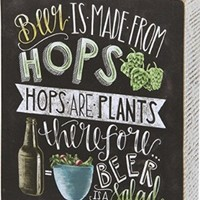 """Primitives By Kathy Wood Box Sign, Beer Is Salad, 6"""" x 7"""""""