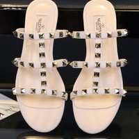 Valentino Women Slipper Rivet Sandals Cross Line Shoes Apricot