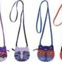 "Laurel Burch Assorted Mini Crossbody Bag W/Zipper Top 6 1/2""X6"" Assorted Feline Faces LB4460 (***You will receive one of the bags pictured***)"