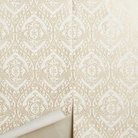 Tiled Crest Wallpaper by Anthropologie in Gold Size: One Size Decor