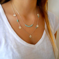 Layered Silver Necklace Set. Turquoise Stone Beads and Coins. Srerling Silver Necklace set. Steling Silver Bar Necklace