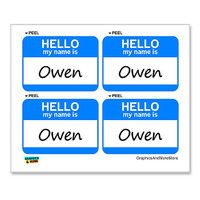 Owen Hello My Name Is - Sheet of 4 Stickers