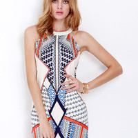 Multicolor Sleeveless Beautifully Geometric Print Dress