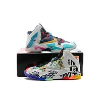 Nike Lebron XI Premium Men's Shoes Black Lava/Silver Ice-Galaxy Blue 650884-400