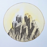Yellow Circle - Stippled Crystals with Grass