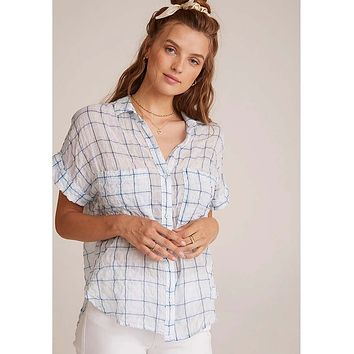 Rolled Short Sleeve Button Down Blue Plaid