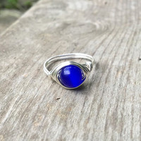 Ring, handmade ring, Glass bead ring, cats eye ring, silver ring, wire ring, wire wrapped ring, blue glass ring, glass ring, bohemian ring