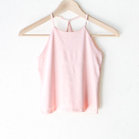 Criss Cross Back Cropped Cami - Rose