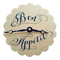 Doily Small Kitchen Clock Bon Appetit Print on Wood Veneer