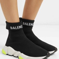Black/lime Balenciaga Speed Sneaker