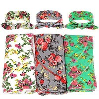 2Pcs/Set born Baby Floral Swaddle Wrap Swaddling Sleeping Bag Blanket+ Headband