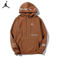 Jordan New fashion letter people print couple hooded long sleeve top sweater Brown
