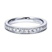 14K White Gold .50cttw Bead Set Diamond Band