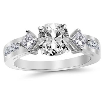 b 1.29 Ctw 14K White Gold Channel Set 3 Three Stone Princess GIA Certified Diamond Engagement Ring Cushion Cut (0.54 Ct K Color VS1 Clarity Center Stone)