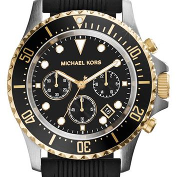 Men's Michael Kors 'Everest' Chronograph Silicone Strap Watch, 45mm