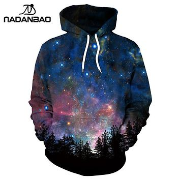 NADANBAO New Style Hiphop Hoodies Galaxy Space 3D Printed Forest Cool Fashion Autumn Sweatshirt Thin Hooded Women Hoodie Bts