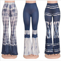 2016 new summer european style printed blue and purple and black tight irregular pattern trousers women bell bottom pants