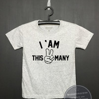 I am this many kids 2nd Birthday Shirt - Kids Birthday Shirt- Girl's birthday, Boy's birthday, Birthday tee - Funny Birthday, Flock printing
