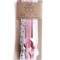 Elastic Headbands Vintage Floral Package of 3