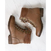 Final Sale - Sierra Falls Sweater Combat Boots in Taupe