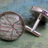 Moscow Moskva Russia Map Silver Cufflinks// Father's Day // Groomsmen Gift // Gift for Him