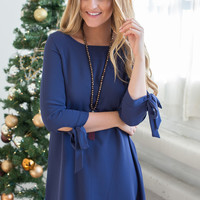 Tie Sleeve Shift Dress - Midnight Blue