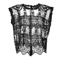 Zadig & Voltaire - Sheer Embroidered Boxy Crop Top