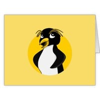 Rockhopper penguin cartoon large greeting card