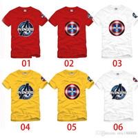 New Arrivals Fashionable Summer Casual Cotton T-shirt His-and-hers Clothes with Avengers & American Captain Logo for Men