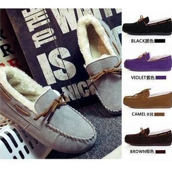 LE VENT Women Grey Suedette Moccasin Slippers Slip On Loafers Soft Fluffy Lining Shoes(5 colors) [8833485324]