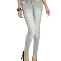 Zippered Destroyed Skinny Jeans   Shop Jeans at Wet Seal