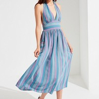 UO Betsey Linen Halter Midi Dress | Urban Outfitters