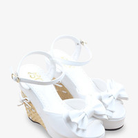 Sweety Bow-Knot Platform Wedge In White