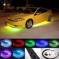 "Fuloon (TM) 7 Color LED Under Car Glow Underbody System Neon Lights Kit 48"" x 2 & 36"" x 2 w/Sound Active Function and Wireless Remote Control"