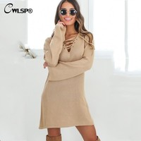Dress Sweater Knitted Casual Fashion Flare Long Sleeve Lace Up V-Neck Party Dresses Vintage QL2705