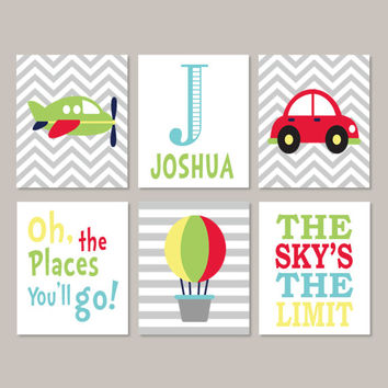 Boy Nursery Art, Transportation Wall Art, Car Nursery Decor, Airplane Car Hot Air Balloon, Nursery Quote, Monogram Set of 6 Prints Or Canvas