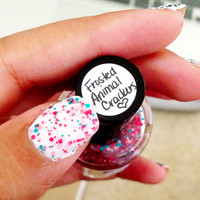 Frosted Animal Crackers nail polish by Opus 19 glitter topcoat