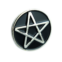 Black Inlay Pentagram Lapel Pin Gothic Wicca Jewelry Witchcraft