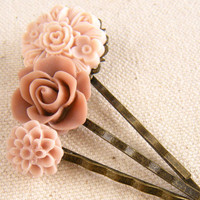 Flower Hair Pin Set, Muted Pink Hair Pins, Pale Pink Hair Pin, Hair Accessories, Valentine's Day, Set of 3 Hair Pins - Muted Pink