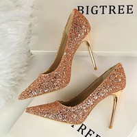Women Pumps Extrem Sexy High Heels Women Shoes Thin Heels Female Wedding Shoes Party Shoes Gold Sliver White Ladies Shoes