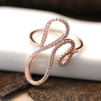 Snake Curve Ring Korean Trend Jewelry CZ Silver Gold Gift Idea Daily Wear Unique