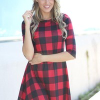 Red Plaid Short Dress