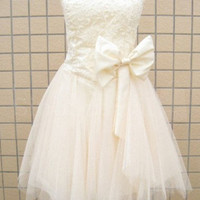 Fanscinating Ivory Lace A-line Sweetheart Mini Bowknot Prom Dress
