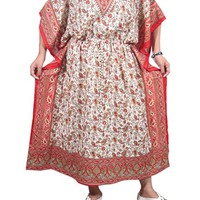 Mogul Women's Kaftans Caftan Dress Cover up Red Paisley One Size
