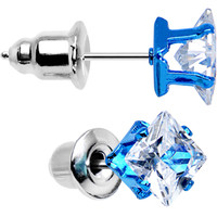 5mm Neon Blue Square Clear CZ Stud Earrings | Body Candy Body Jewelry
