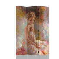 3 panel Seated woman pastel look room divider shoji screen on canvas print