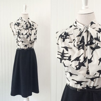 1960s vintage black & white graphic bird print dress ascot bow Mod midi // shadow flying geese pattern // size M